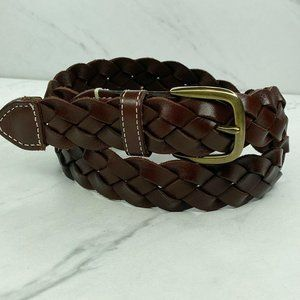 Lands' End Brown Braided Woven Leather Belt